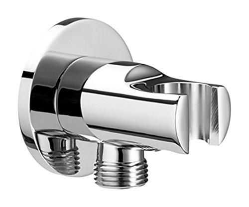 Roca  - Toma de agua cromada de 1/2' para flexible de ducha con soporte para ducha de mano integrado . Recambios originales de grifería. Ref. A5053225A0