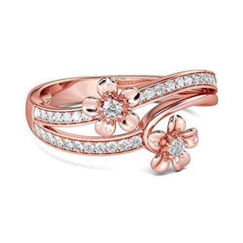 Thumby Gesloten Sneeuwvlok Vlindervormige Zirkonia Ring met Roségoud 925 Zilver Eenvoudige Persoonlijke Ring, Vrouwelijk, Sweet, Platte Ring, Prong Setting, Plant, Casual, Micro-Inlay, Transparant & roségoud