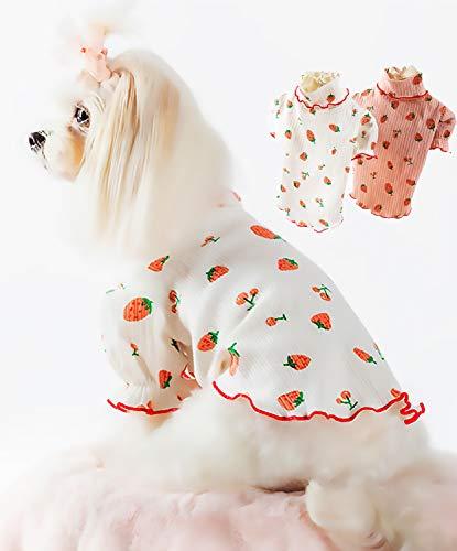 PetGround 犬 服 いちご シャツ フリル かわいい 犬の服 ペット服 小型犬 ドッグウェア Dog clothes (XS, 白)