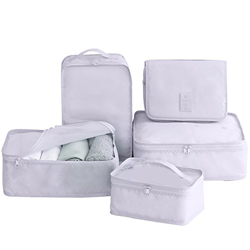 Travel Packing Cubes 7 Set, JJ POWER Luggage Organizers with toiletry kit shoe bag (5 set gray)