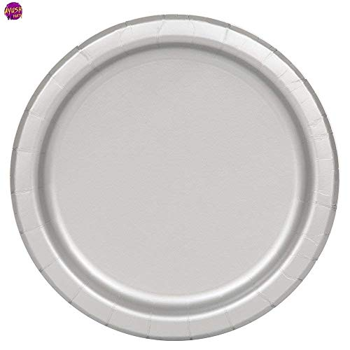 Ayush party Supplies Party Tableware Paper Plates for Weddings, Anniversary, Birthday , Multipurpose Occasions is Party Disposable plates,Pack of 16(9inch/22cm) (Silver)