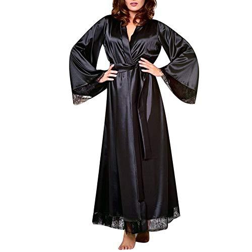 Celucke Morgenmantel Damen Satin Kimono Spitze Lange Robe Hochzeits Roben V Ausschnitt Bademantel mit Gürtel Nachthemd für Braut Nachtwäsche Mit Blumenspitze (Schwarz, S)