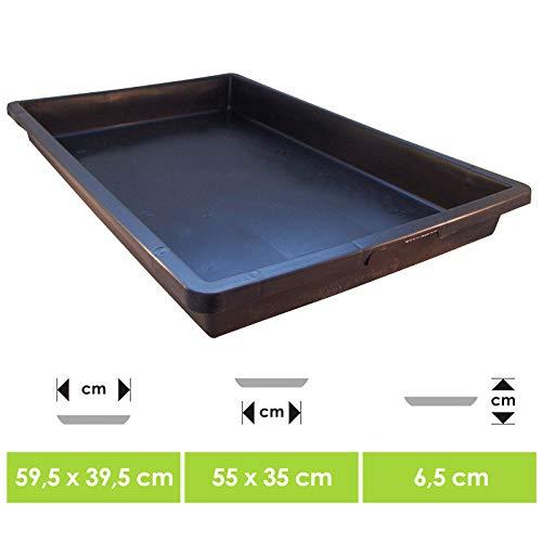UDOPEA Manna Profi Pflanzschale 60 x 40 x 6,5 cm stabile Gewächshaus-Wanne ohne Bodenlöcher wasserdicht für Pflanzen, Anzuchten, Garten (1) (1)