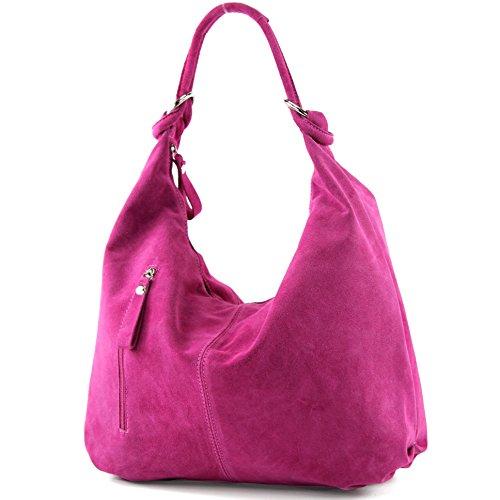 modamoda de - T158 - ital Schultertasche aus Wildleder Leder, Farbe:Pink
