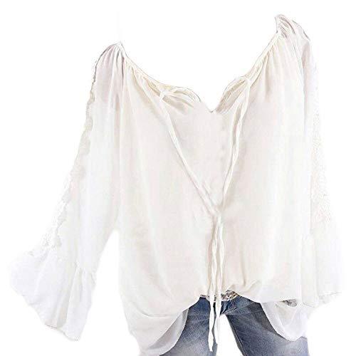YEBIRAL Große Größe Damen Bluse V-Ausschnitt Langarm Shirt Elegant Damenmode Schulterfrei Oberteil Tops Carmenbluse mit Spitze(XXXXXL,Weiß)