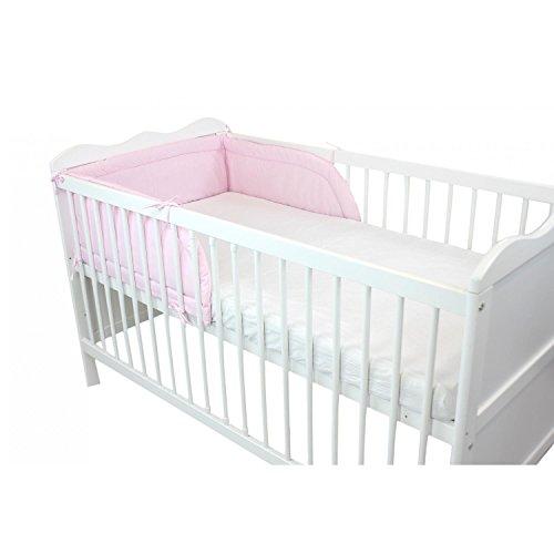TupTam Baby Kopfumrandung für Babybett, Farbe: Rosa, Größe: 210x30cm (für Babybett 140x70)
