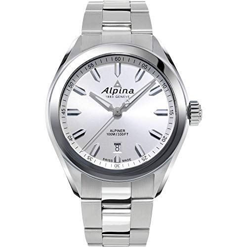 Alpina Alpiner - Reloj deportivo de cuarzo suizo con correa de acero inoxidable, color plateado, 21 (Modelo: AL-240SS4E6B)