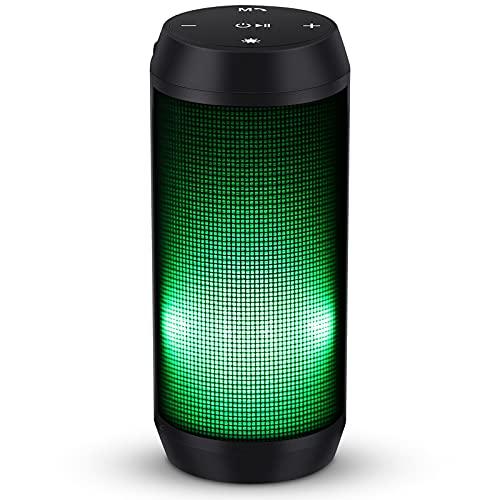 Altavoz Bluetooth Potente Portatil con Luz LED de 5 Modos Altavoces Bluetooth con Radio FM Inalambricos Recargable USB apoya TF Card/Memoria USB de 32G Altavoz Portatil Estereo, Verde