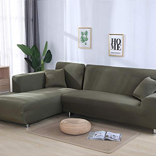 Sofabezug Einfarbig Elastische Ecke SofaStuhl Protector Room 1/2/3/4 Seater-Grey_Green_1seater_and_2seater