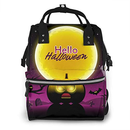 UUwant Sac à Dos à Couches pour Maman Hello Halloween Scary Night Diaper Bags Large Capacity Diaper Backpack Travel Nappy Bags Mummy Backpackling