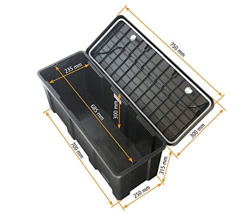 Blackit L – 750 x 300 x 355 mm, Deichselbox mit 2 Schlösser, Werkzeugkasten für Anhänger Staukiste 50 ltr Anhängerbox, Daken B50-2 - 4
