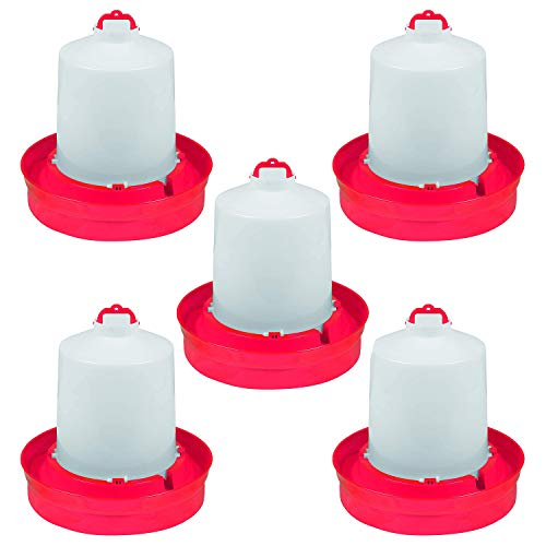 Little Giant DBW2 Deep Base Automatic Poultry Waterer Dispenser for Chickens & Birds, Red, 2 Gallon (5 Pack)