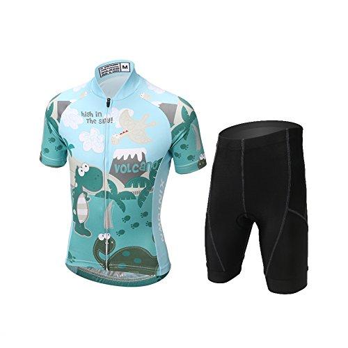Free Fisher - Camiseta de ciclismo para niños (camiseta de manga corta + pantalones), verano, niño, color Grün Dinosaurier, tamaño 152-158 cm