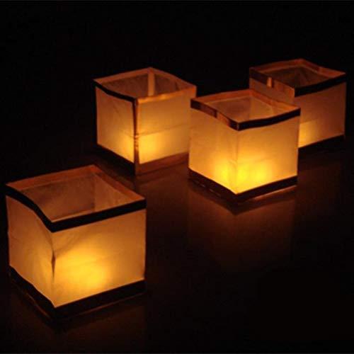 Uonlytech LED Schwimmende Lichter, Quadratische LED Wish Light, LED Teichlaterne für Festival Beten Wünschen (5 Stück, Golden)