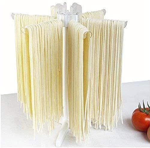 Zerone–Secador de Pasta, Soporte de Secado para Pasta fideo plástico tendedero para fideo Plegable con 5Barras para sécher Pasta Fresca Spaghetti tagliatelles fettuccines Toppings Lasagnes
