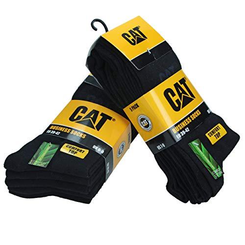 Caterpillar CAT Herren Businesssocken wahlweise 5|10|15|20 Paar, in 39-42/43-46, in Schwarz und/oder Bunt-Mix, große Farb- und Mengenauswahl, Socken (39-42, 10 Paar Schwarz)