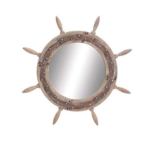 Deco 79 Wood Ship Wheel Mirror, 29-Inch