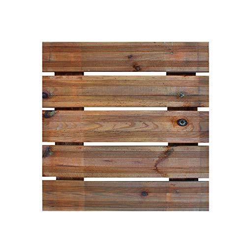 Mattonella Zigrinata in Legno 50x50 Spessore 3,8 cm Verniciata Noce Chiaro, Pino Impregnato, Pavimento Esterno Extra Resistenza