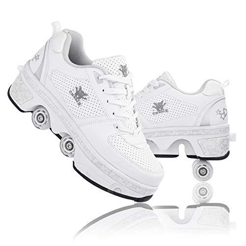 Roller Skates For Women,Shoes With Wheels For Girls,Outdoor Skates For Men,Children's Roller Skates Boys,Kick Rollershoes For Adults,Quad Roller Shoes Multifunctional Deformation Skates,White3-8.5US