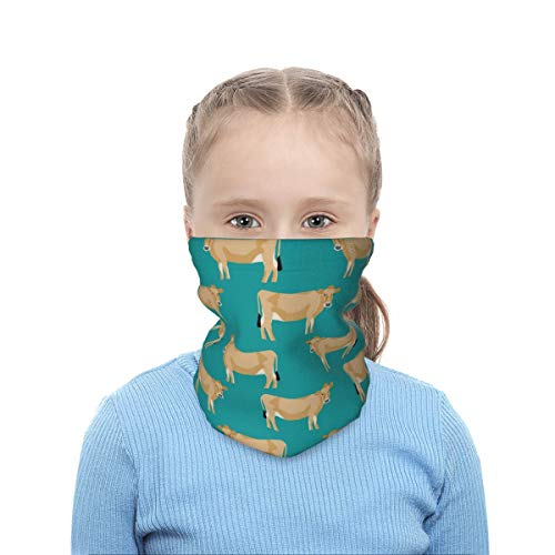 Jersey Cow Turquoise Kids Winter Neck Gaiter Face Mask Warmer Soft Bandana Face Cover