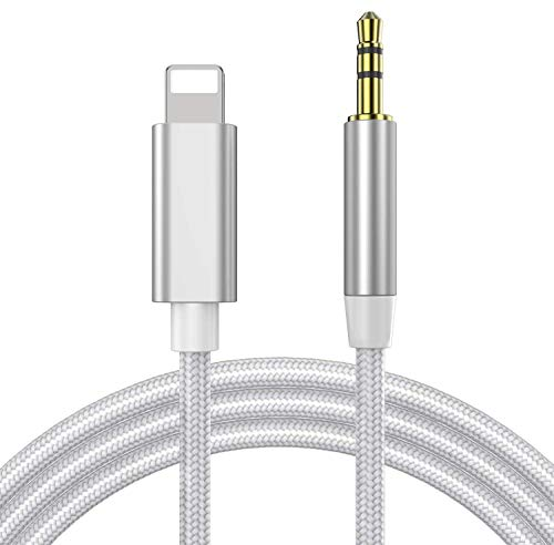 Cable Auxiliar para iPhone Cable Auxiliar Coche iPhone Compatible con iPhone 11/11 Pro/X/XR/XS/XS MAX/8/8 Plus/7/7 Plus, Apoyo con Radio de Coche Altavoz Auricular, Compatible con Todos iOS - Plata