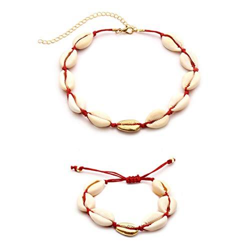 1 juego de collar y pulsera de conchas para mujer de Procon, joyas de concha natural para mujer, joyas hechas a mano (oro rojo)