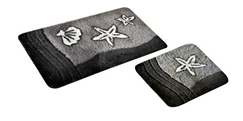 S&S-Shop Badematte Set | Grau | Sealife | 2 teilig | rutschfest | WC-Vorleger 50 x 45 cm | Badvorleger 50 x 90 cm | Badteppich | Teppich | Bad | Badezimmer