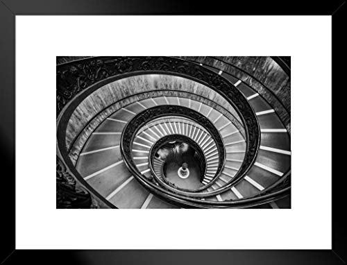 Poster Foundry Bramante Staircase Vatican Museum Spiral Staircase Black and White Photo Matted Framed Wall Art Print 26x20 inch