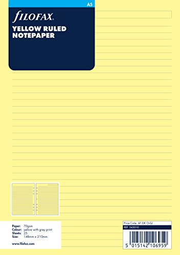 Filofax 343010 Notizpapier A5, liniert, gelb