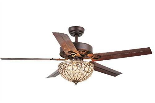 Whse of Tiffany Cfl-8111 Catalina 3-Light Bronze-Finished 5-Blade 48' Crystal Ceiling Fan, 23' X 15' X 14'