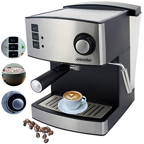 Espressomaschine | Cappuccinomaschine | Kaffeemaschine | Milchaufschäumer | Siebträger Espressomaschine | Elektrische Espressomaschine | Edelstahl Design | 1,6L Wassertank | 850 Watt |15 bar |