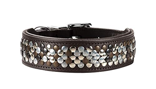 HUNTER ARIZONA Hundehalsband, Leder, mit Nietenbesatz, 50 (S-M), braun