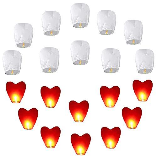 20pcs Ensemble de lanternes de ciel chinois (10pcs blanc + 10pcs de cœur rouge) Lanternes célestes respectueuses de l'environnement pour mariages, fêtes, funérailles, Nouvel An, Lanterne volante du