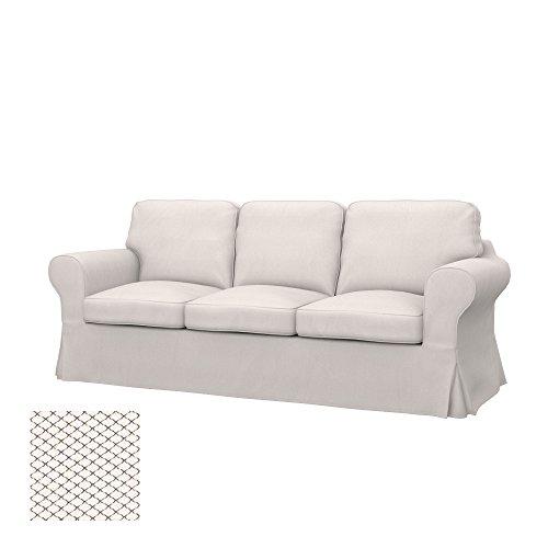 Soferia - Ikea EKTORP PIXBO Fodera per Divano Letto a 3 posti, Nordic White
