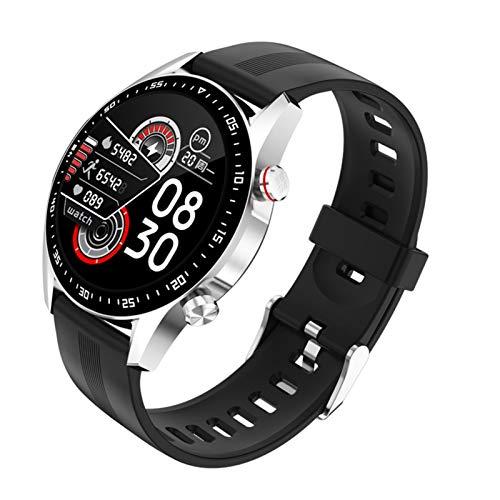 Reloj inteligente para hombre, con Bluetooth, esfera completa, resistente al agua, para Android iOS y deportes, fitness, color plateado