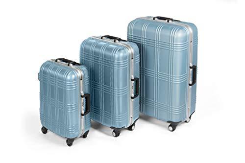 MasterGear Hartschalenkoffer mit Aluminium Rahmen Set 3 teilig in blau | 3er Kofferset |...