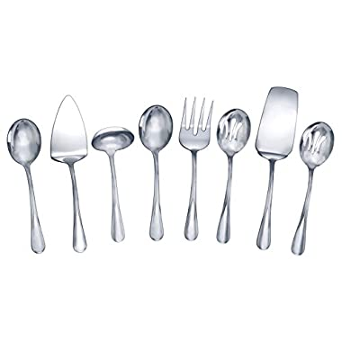 Gourmet Basics by Mikasa 5181046 Kaylee 8-Piece Stainless Steel Serving Set