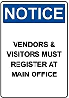 金属ヴィンテージティンサイン、通知ベンダー&訪問者は本部の警告に登録する必要があります、アートインテリアティン安全標識ヴィンテージ金属ティンサインサイン