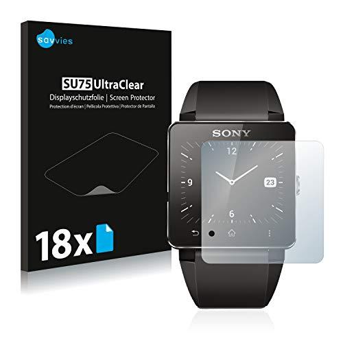 Savvies 18x Schutzfolie kompatibel mit Sony Smartwatch 2 Bildschirmschutz-Folie Ultra-transparent