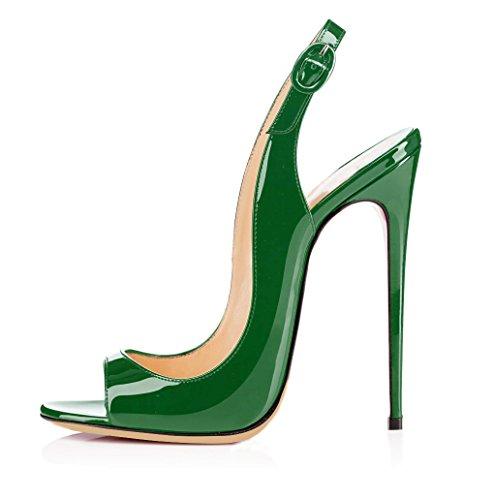 ELASHE - Zapatos de tacón - 12 CM Sandalias de Vestir - Tira de Tobillo Sandalias Verde EU45 (Ropa)