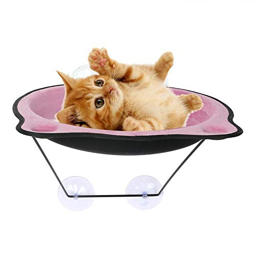 Hangmat met venster, voor katten, om op te hangen, met zuignap, 39 x 38 cm, Roze