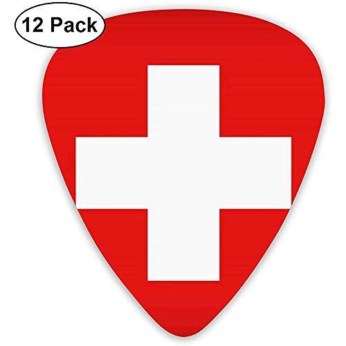 Zwitserse Vlag Gitaar Pick Set Gitaar Bas Mandolin Ukulele 0.46mm 0.71mm 0.96mm 12 Pack Gitaar Plectrums met Picks Houder