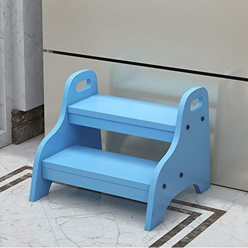 Sywlwxkq Escalera de Mano Multiusos Escalera de Segundo Orden Taburete portátil para el hogar, Taburetes de Biblioteca de Madera Maciza (Color: Azul)