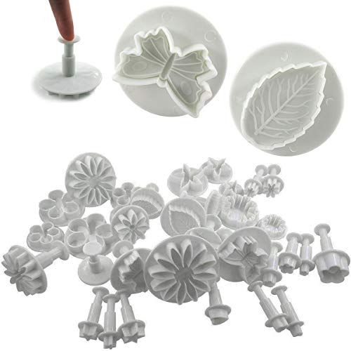 Daycount 33 Pcs Fondant Cutters Tools, Fondant Cake Cutter Mould, Ejector Stamp Modeling Cookie Plunger Cutter Sugarcraft Flower Leaf Butterfly Heart Shape Decorating Mold DIY Tools
