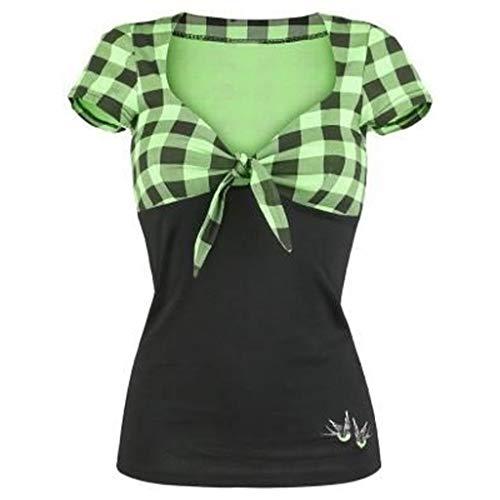 QingJiu Damen Spell Color V Ausschnitt Kariertes kurzärmeliges Shirt Pullover Tops Shirt (XX-Large, Grün)