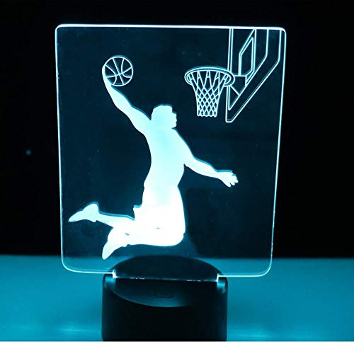 TIANXIAWUDI 3D LED Night Light Play Basketball with 7 Light Colors for Home Decoration Lamp Dunk Amazing Visualization Illusion Optical