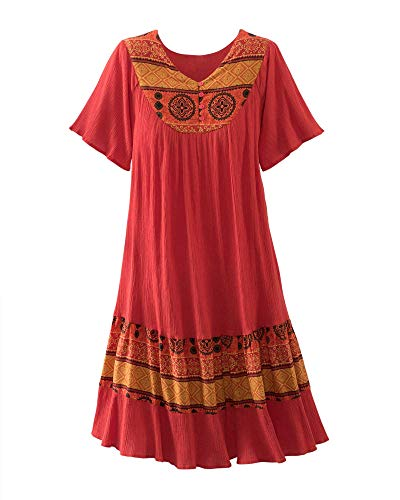 National Santa Fe Border Print Dress - Short-Sleeve Pullover Dress - Easy-Care 100% Crinkle Cotton, Side Pockets, Festive Print, Paprika, Medium