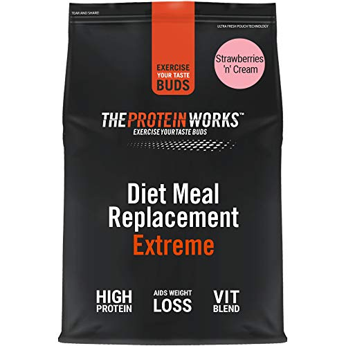 THE PROTEIN WORKS Diet Meal Replacement Extreme | Seen On This Morning ITV | Nutritionally Complete Meal | Immunity Boosting Vitamins | Just Add Water | Strawberries 'n' Cream | 1 kg