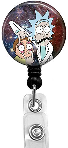 Rick and Morty in The Starry Sky Badge Reel, Retractable Name Card Badge Holder with Alligator Clip, 24in Nylon Cord, Medical MD RN Nurse Badge ID, Badge Holder, ID Holder, Office Employee Name Badge