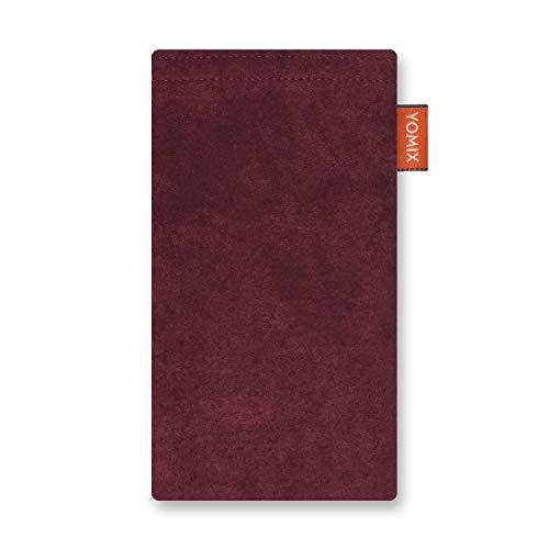 YOMIX Hugo Weinrot mit Strahlenschutz Handytasche Tasche für LG Q7 Alfa aus Alcantara® mit Microfaserinnenfutter | Hülle mit Reinigungsfunktion | Made in Germany